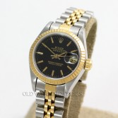 Rolex Lady Datejust 69173 18K Gold Steel Black Stick