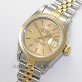 Rolex Lady Datejust 69163 18K Gold Steel Champagne Roman