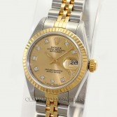 Rolex Lady Datejust 69173 18K Gold Steel Champagne Diamond Dial