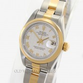 Rolex Lady Datejust 79173 Steel 18K Gold Smooth Bezel Ivory Pyramid