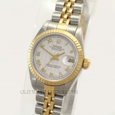Rolex Lady Datejust 79173 Steel 18K Gold Fluted Bezel Ivory Pyramid