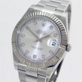 Rolex Datejust II Ref 116334 Steel Silver Diamond Dial