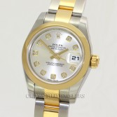 Rolex Lady Datejust 179163 18K Gold Steel Silver Diamond Dial