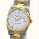Rolex Datejust 16233 18K Gold Steel White Stick