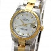 Rolex Midsize Datejust 178273 Steel 18K Gold MOP Diamond Dial