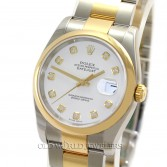 Rolex Datejust 116203 18K Gold Steel White Diamond Dial
