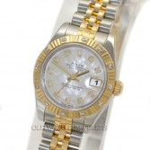 Rolex Lady Datejust 179313 18K Gold Steel Diamond Dial & Bezel