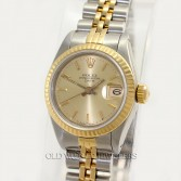 Rolex Lady Datejust 69173 18K Gold Steel Champagne Dial