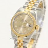 Rolex Lady Datejust 179173 18K Gold Steel Champagne Diamond Dial