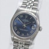 Rolex Midsize Datejust 68274 Steel Blue Roman Dial