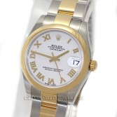 Rolex Midsize Datejust 178243 18K Gold Steel White Roman Dial