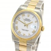 Rolex Datejust 116233 18K Gold Steel White Roman Dial