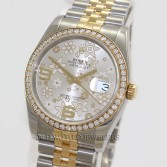 Rolex Datejust 116243 18K Gold Steel Diamond Bezel Flower Dial