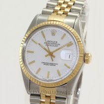 Rolex Datejust 16013 18K Gold Steel White Stick Dial