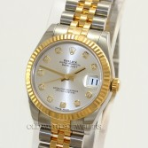 Rolex Datejust 31mm Ref 178273 18K Gold Steel Silver Diamond