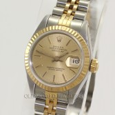 Rolex Lady Datejust 69173 18K Gold Steel Champagne Stick