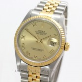 Rolex Datejust 16233 18K Gold Steel Champagne Roman Dial