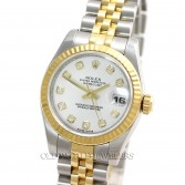 Rolex Lady Datejust 179173 18K Gold Steel White Diamond Dial