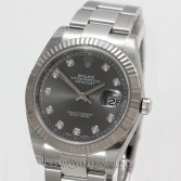 "Rolex Datejust ""41"" Ref 126334 Steel Rhodium Diamond Dial"