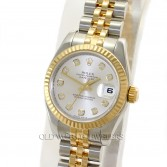 Rolex Lady Datejust 179173 18K Gold Steel Silver Diamond Dial