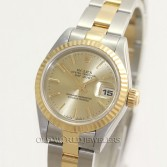 Rolex Lady Datejust 69173 18K Gold Steel Champagne Stick Dial