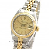 Rolex Lady Datejust 69173 18K Gold Steel Champagne Tapestry Dial