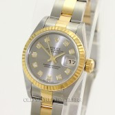 Rolex Lady Datejust 79173 18K Gold Steel Slate Diamond Dial