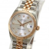 Rolex Midsize Datejust 178271 Steel Rose Gold Silver Diamond Dial