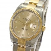 Rolex Datejust 116233 18K Gold Steel Champagne Diamond Dial