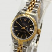 Rolex Lady Datejust Ref 69173 18K Gold Steel Black Stick