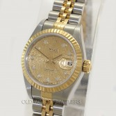 Rolex Lady Datejust 69173 18K Gold Steel Jubilee Diamond Dial