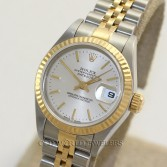 Rolex Lady Datejust 79173 18K Gold Steel Silver Dial