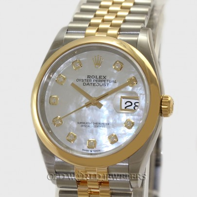 Rolex Datejust 36 Ref 126203 18K Gold Steel MOP Diamond Dial