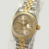 Rolex Lady Datejust 179173 18K Gold Steel Champagne Arabic Dial