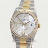 Rolex Datejust 116243 18K Gold Steel Flower Dial Diamond Bezel