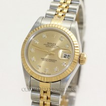 Rolex Lady Datejust 79173 18K Gold Steel Champagne Diamond Dial