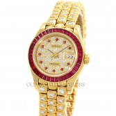Rolex Rare Lady Datejust Ref 69308 18K Gold Factory Ruby & Diamonds
