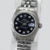Rolex Lady Datejust 179174 Steel Black Diamond Dial