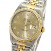 Rolex Datejust 16233 18K Gold Steel Champagne Diamond Dial