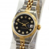 Rolex Lady Datejust 79173 18K Gold Steel Black Diamond Dial