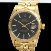 Rolex Vintage Datejust 16018 18K Gold Black Stick Dial