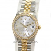 Rolex Midsize Datejust 178383 18K Gold Steel Silver Roman Diamond Bezel