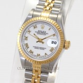 Rolex Lady Datejust 69173 18K Gold Steel White Roman Dial