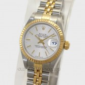 Rolex Lady Datejust 79173 18K Gold Steel Silver Stick