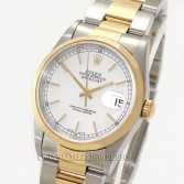 Rolex Datejust Ref 16203 18K Steel White Stick