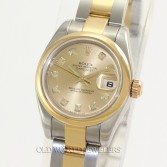 Rolex Lady Datejust 179173 18K Steel Champagne Diamond Dial