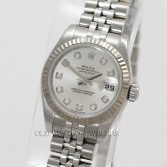Rolex Lady Datejust Ref 179174 Steel Silver Diamond Dial