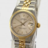 Rolex Midsize Datejust 68273 18K Gold Steel Champagne Tapestry Dial