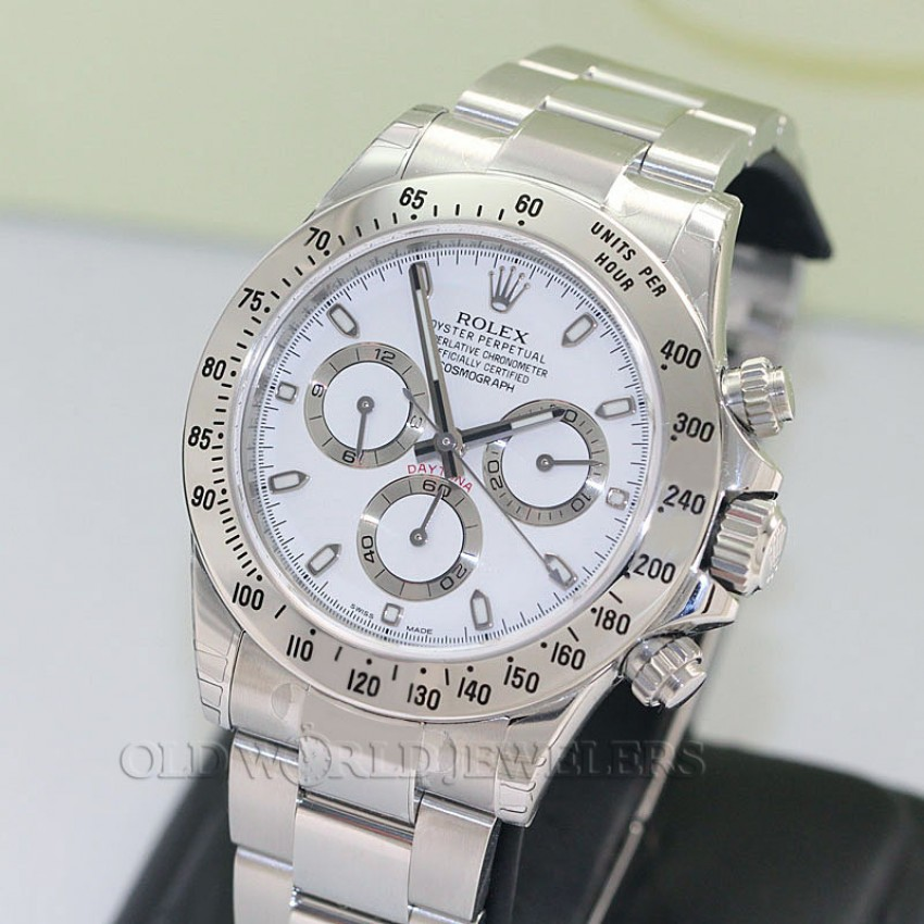 17e7037ed25a2 Rolex Daytona Cosmograph White Dial Ref 116520 Stainless Steel