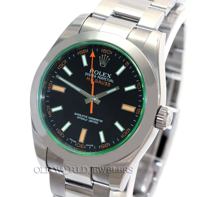 Rolex Milgauss 116400V Steel Black Dial Green Crystal